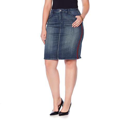 f05993bd621b81 Skinnygirl Tuxedo Stripe Denim Pencil Skirt - 8845569 | HSN
