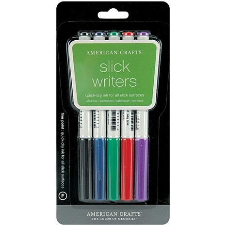 Slick Writer Marker Pens 5/Pkg - Fine Point-Black/Blue/Red/Green/Pu...