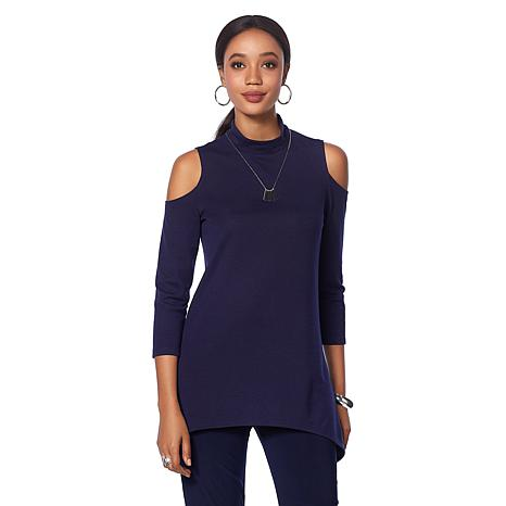 Slinky® Brand 2-piece Mock-Neck Cold-Shoulder Long Tunic and Pant