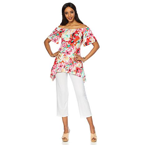 Slinky Brand 2pc On/Off-Shoulder Tunic and Pant