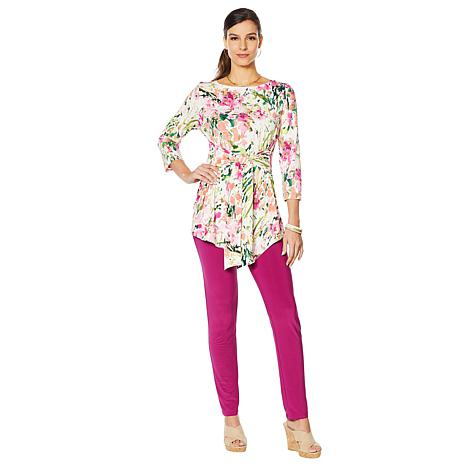 Slinky® Brand 2pc Printed Tie Front Tunic & Solid Pant Set