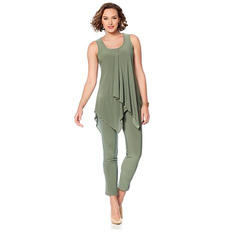 Slinky® Brand 2pc Sleeveless Cascade-Front Tunic and Pant