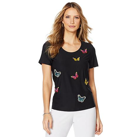 Slinky® Brand 2pk Solid and Butterfly Appliqué Tees