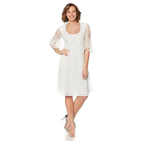 Slinky Brand 3/4 Flounce Sleeve Scoop Neck Lace Dress