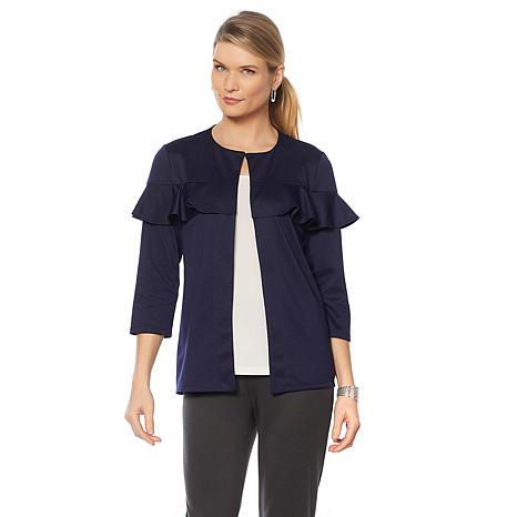 Slinky® Brand 3/4-Sleeve Ponte Jacket with Ruffle Detail