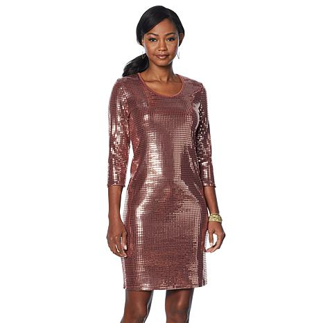 b8f1898b8c Slinky® Brand 3 4-Sleeve Sequin Dress - 8872097