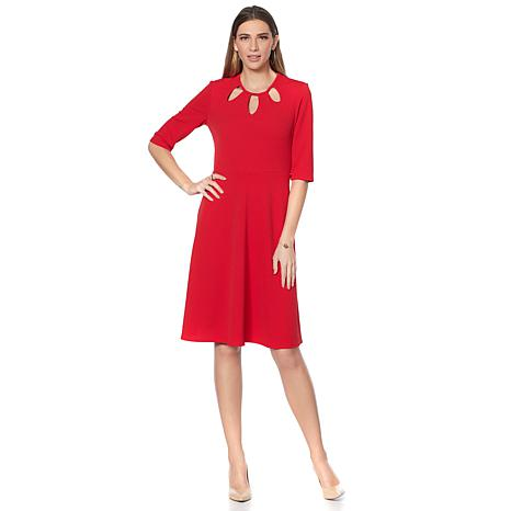 Slinky® Brand Elbow-Sleeve Fit and Flare Dress