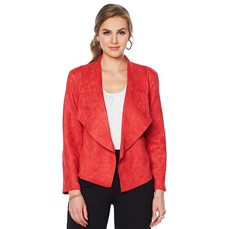 Slinky Brand Faux Suede Jacket with Shawl Collar