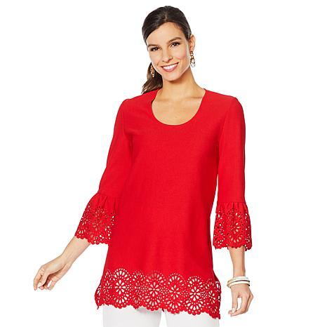Slinky® Brand Flounce-Sleeve Tunic with Laser-Cut Trim