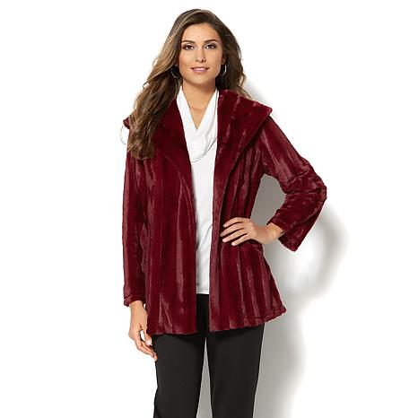 Slinky® Brand Long-Sleeve Faux Fur Shawl-Collar Jacket