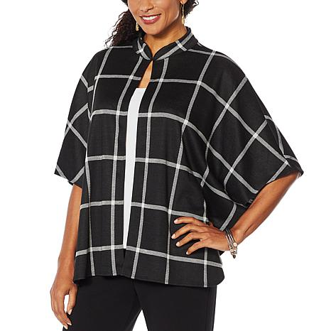 Slinky® Brand Open-Front Cape Jacket with Stand Collar