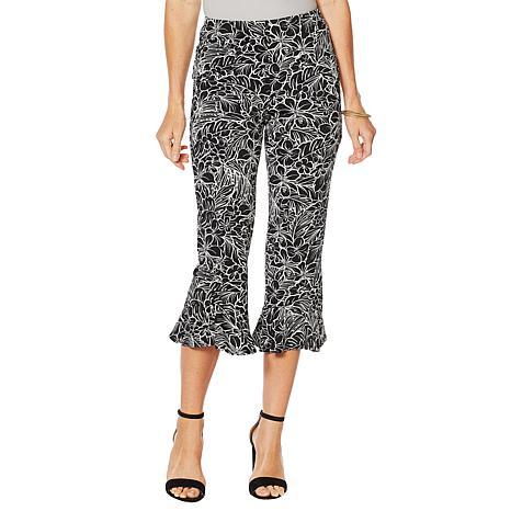 Slinky® Brand Printed Cropped Knit Pant with Flounce Hem