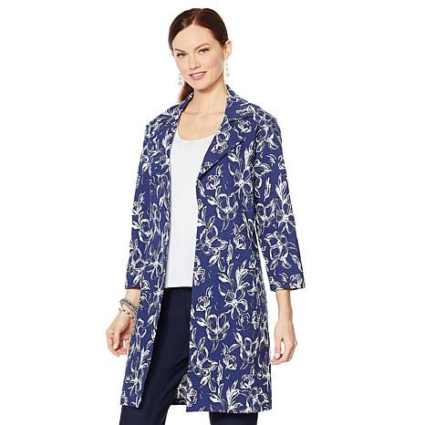 Slinky® Brand Printed Travel Stretch Trench Coat with Pockets