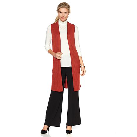 Slinky® Brand Ribbed Knit Long Duster Vest with Pockets