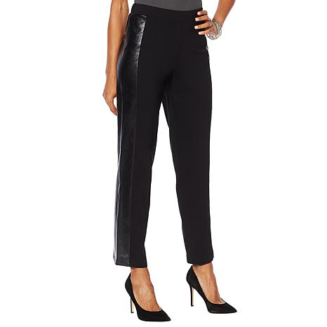 Slinky® Brand Tapered Ponte Pant with Faux Leather Detail