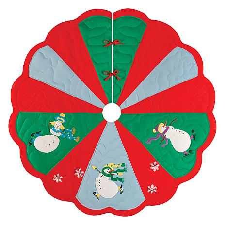 Slip Sliding Snowmen Tree Skirt