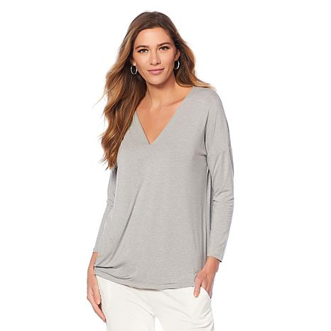Soft & Cozy Cool Luxe Knit Drape-Front Top
