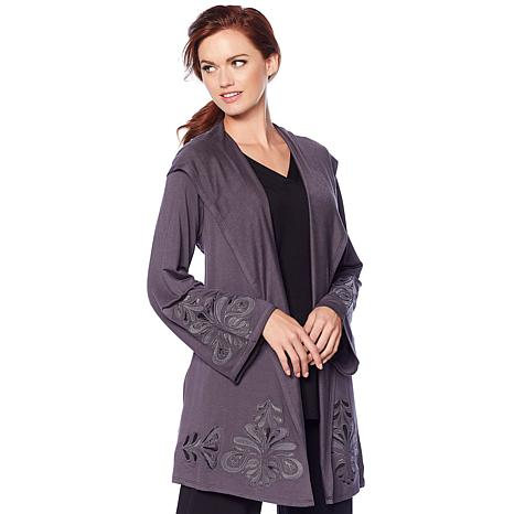 bdea655ad2f exclusive! Soft & Cozy Cool Luxe Knit Embroidered Hooded Cardigan