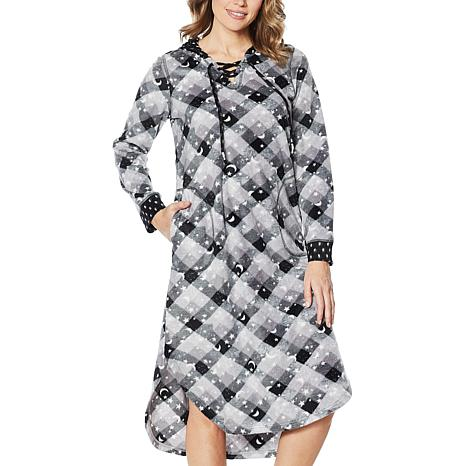 Soft & Cozy Hooded Lounge Dress with Lace-Up Neckline