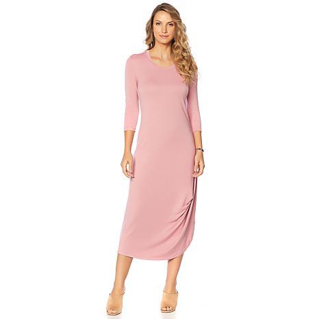 Soft & Cozy Loungewear Cool Luxe Knit 3/4-Sleeve Draped Dress