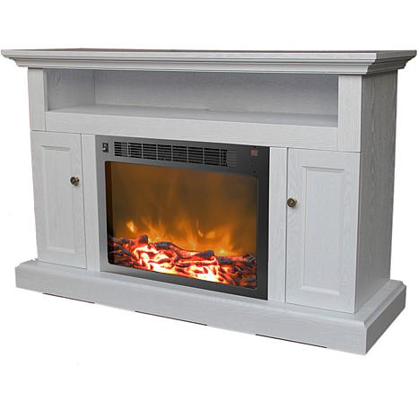 Surprising Sorrento Electric Fireplace With 1500W Log Insert And 47 In Entertainment Stand In White Download Free Architecture Designs Rallybritishbridgeorg