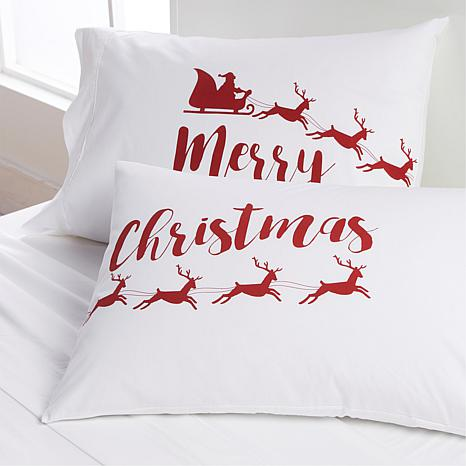 South Street Loft 100% Cotton 2-pack Pillowcases - Merry Christmas