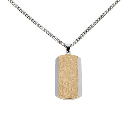 "Stainless Steel 2-Tone Dog Tag Pendant with 24"" Chain"