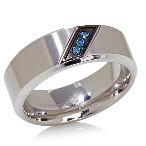 Stainless Steel Diagonal Blue Diamond Wedding Band