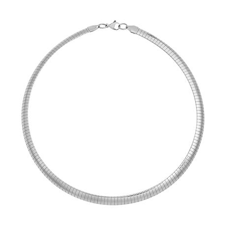 """Stately Steel 17"""" 8mm Omega Chain Collar Necklace"""