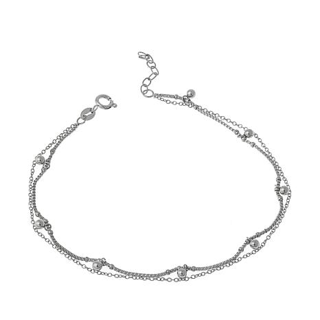 """Stately Steel 2-Chain Beaded 9"""" Anklet"""