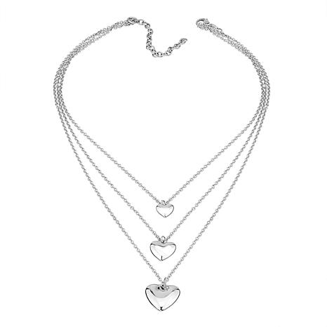 Stately Steel 3-Strand Bib-Style Puff Heart Necklace
