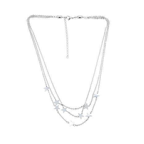 "Stately Steel 3-Strand Star-Accented 18"" Necklace"