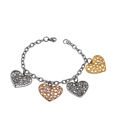 Stately Steel 8ctw CZ Tricolor Heart Drop Bracelet