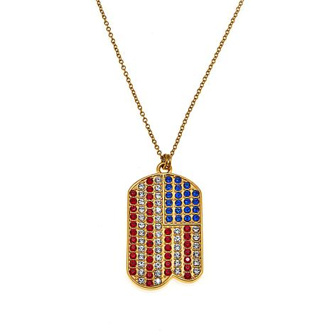 "Stately Steel American Flag Dog Tag 36"" Necklace"