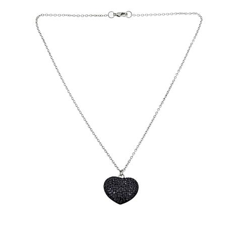 """Stately Steel Black Crystal Heart Pendant Drop 18"""" Necklace"""