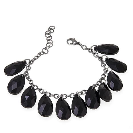 "Stately Steel Black Glass and Cable Chain 7"" Line Bracelet"