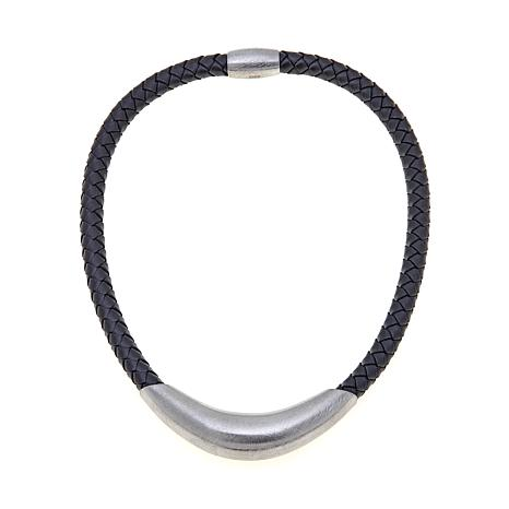 """Stately Steel Braided Leather 17"""" Collar Necklace"""