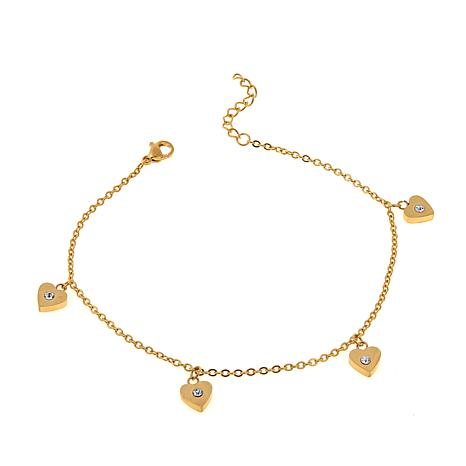 "Stately Steel Crystal-Accented Heart Drop 9"" Anklet"