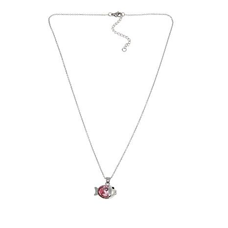 """Stately Steel Crystal Critter Pendant with 18"""" Chain"""