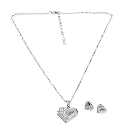 Stately Steel Crystal Heart Pendant Necklace & Earrings