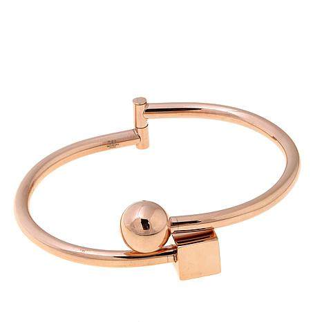 Stately Steel Cube and Ball Stainless Bangle Bracelet