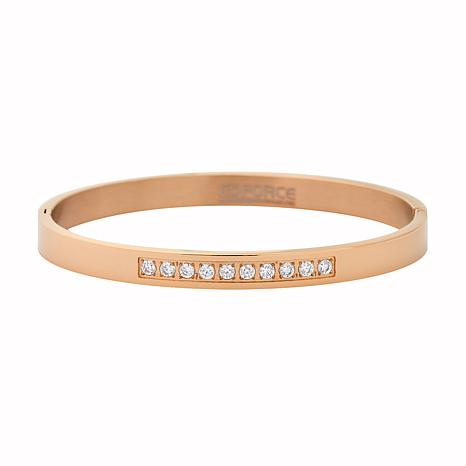 Stately Steel Cubic Zirconia One-Row Bangle Bracelet