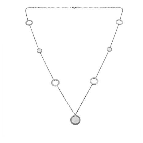 """Stately Steel Cultured Mother-of-Pearl & Circle 35-1/2"""" Rolo Necklace"""