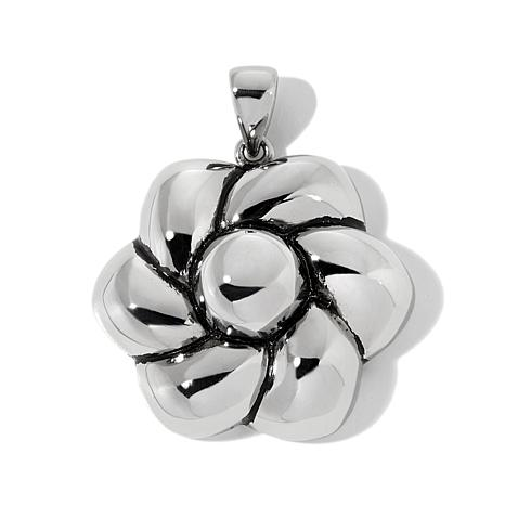 Stately Steel Dimensional Flower Pendant