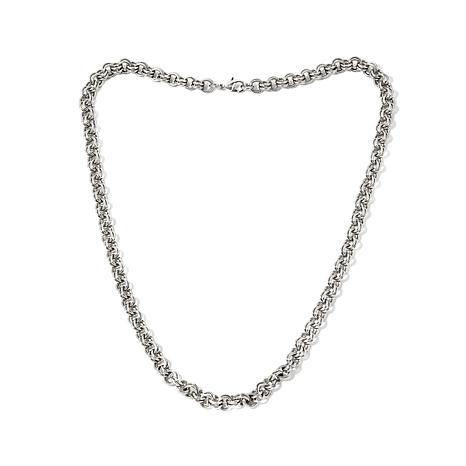 "Stately Steel Double-Circle Link Chain 20"" Necklace"