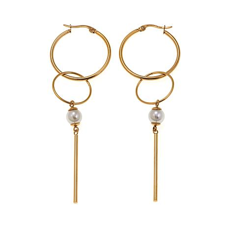 Stately Steel Double-Hoop and White Bead Drop Earrings