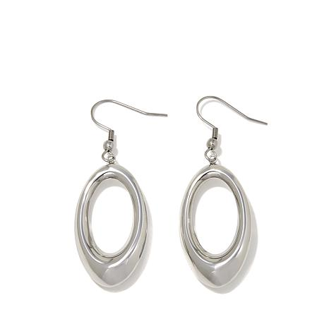 Stately Steel Elongated Oval Drop Earrings