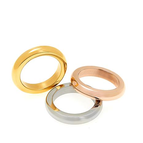 Stately Steel Goldtone, Rose Goldtone and Silvertone Set of 3 Rings
