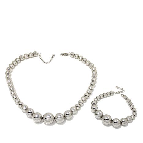 Stately Steel Graduated Bead Necklace and Bracelet Set