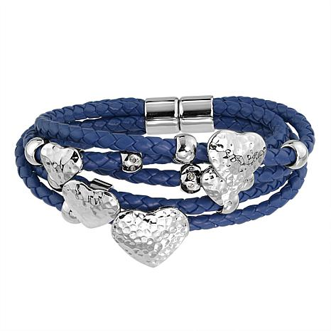 Stately Steel Hammered Heart 5-Row Braided Leather Bracelet